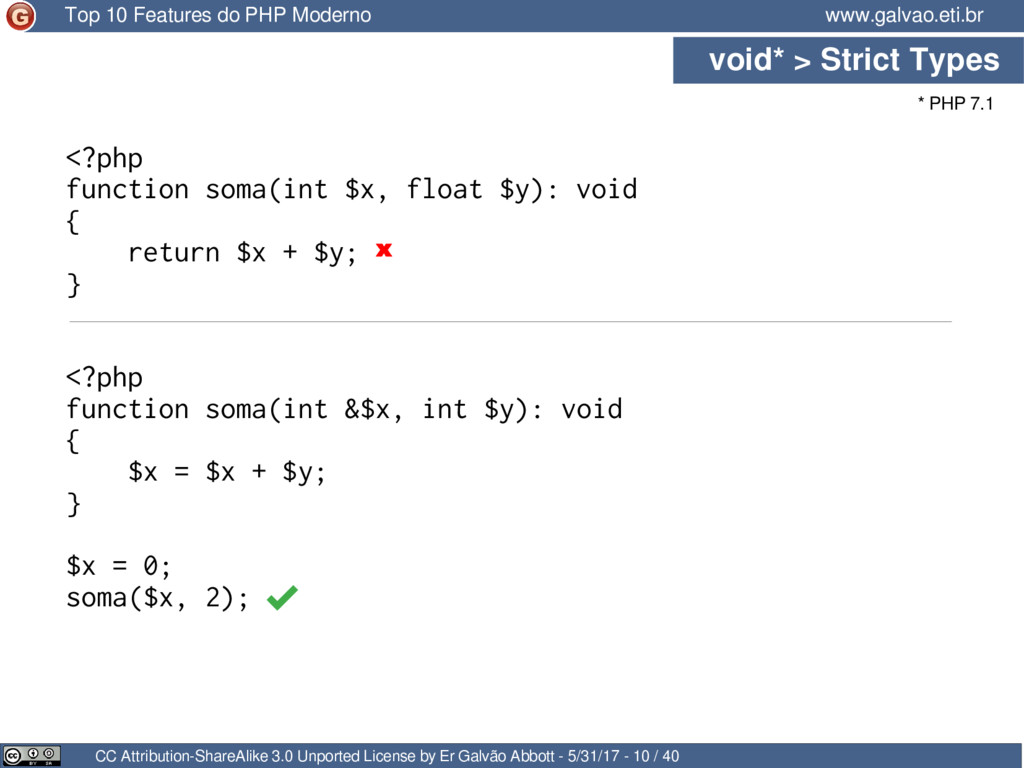 void* > Strict Types CC Attribution-ShareAlike ...