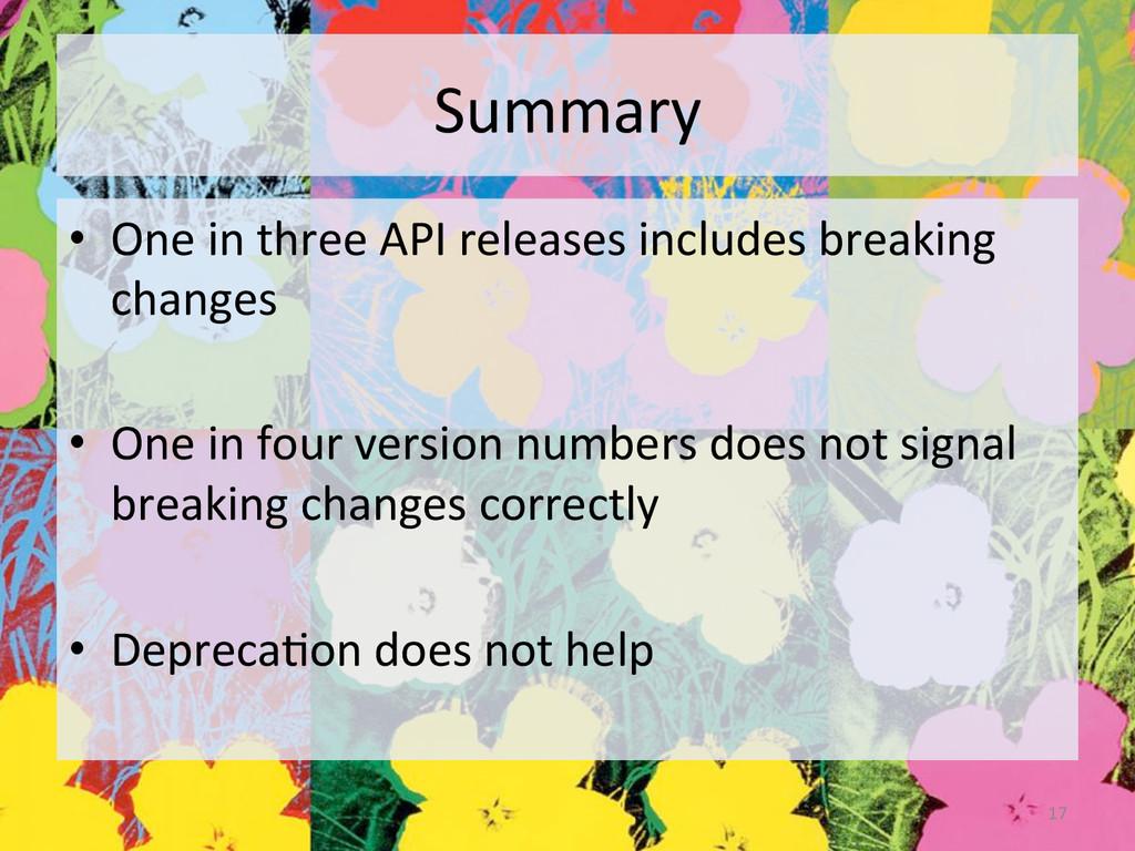 Summary  • One in three API rel...
