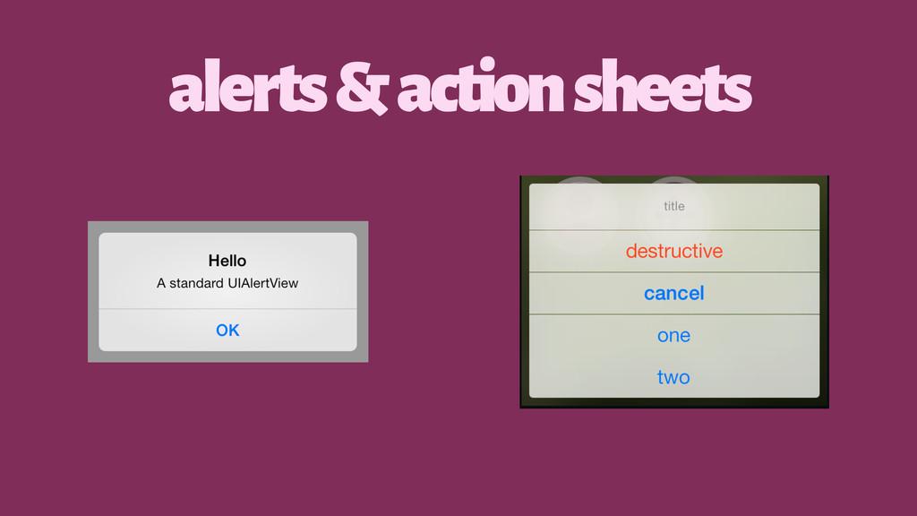alerts & action sheets
