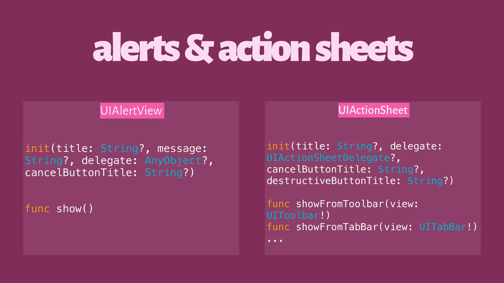 alerts & action sheets UIAlertView init(title: ...