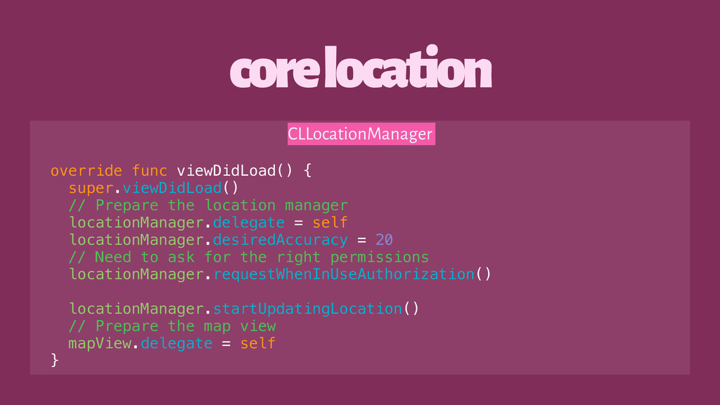core location CLLocationManager override func v...