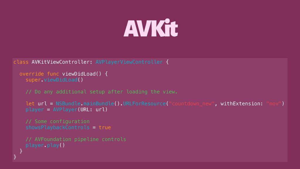 AVKit class AVKitViewController: AVPlayerViewCo...