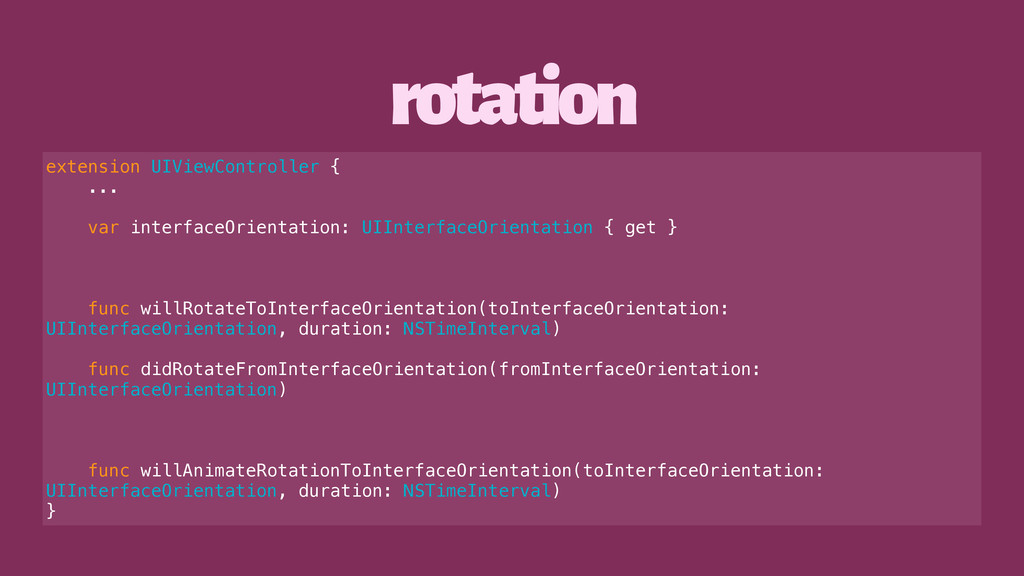 rotation extension UIViewController { ... var i...