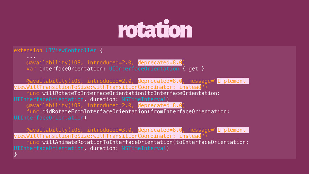 rotation extension UIViewController { ... @avai...