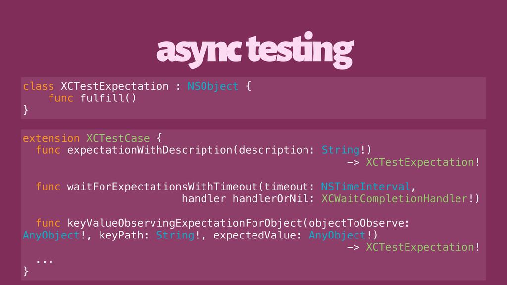 async testing class XCTestExpectation : NSObjec...