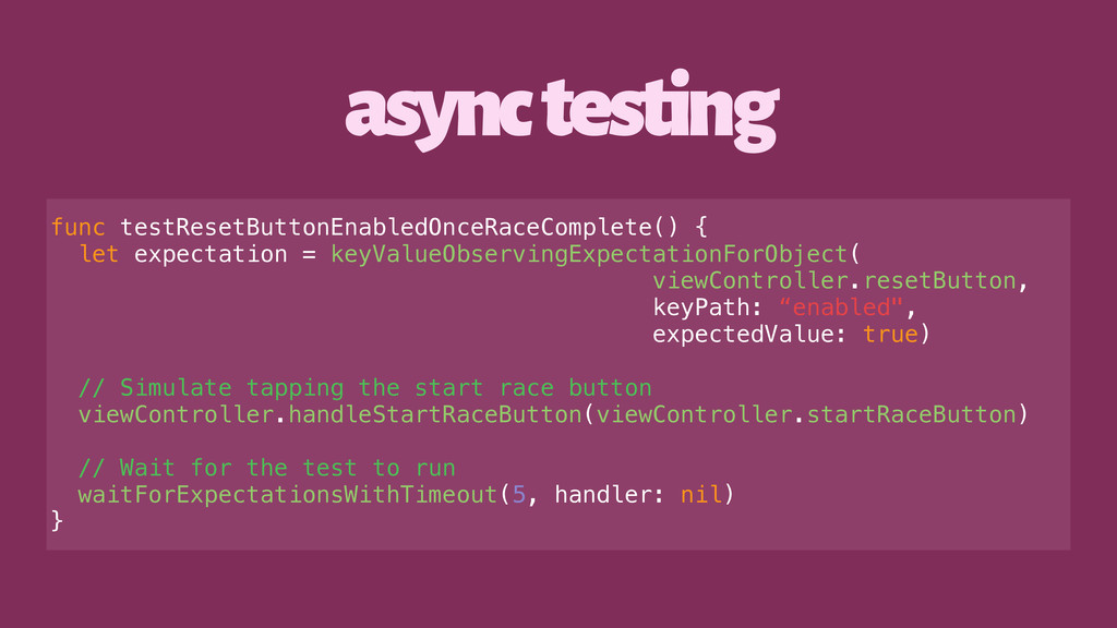 async testing func testResetButtonEnabledOnceRa...