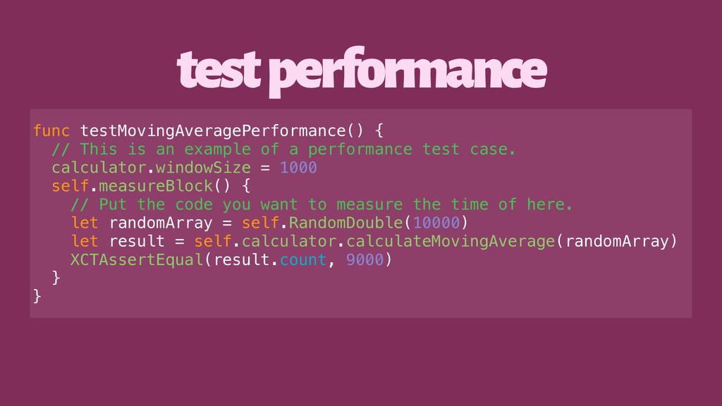 test performance func testMovingAveragePerforma...