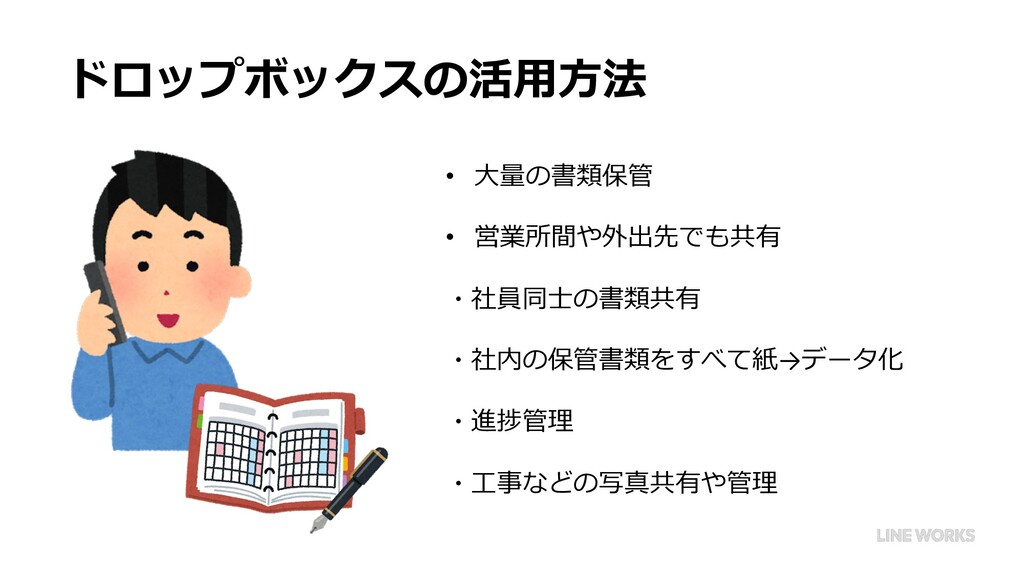 ドロップボックスの活⽤⽅法 • ⼤量の書類保管 • 営業所間や外出先でも共有 ・社員同⼠の書類...