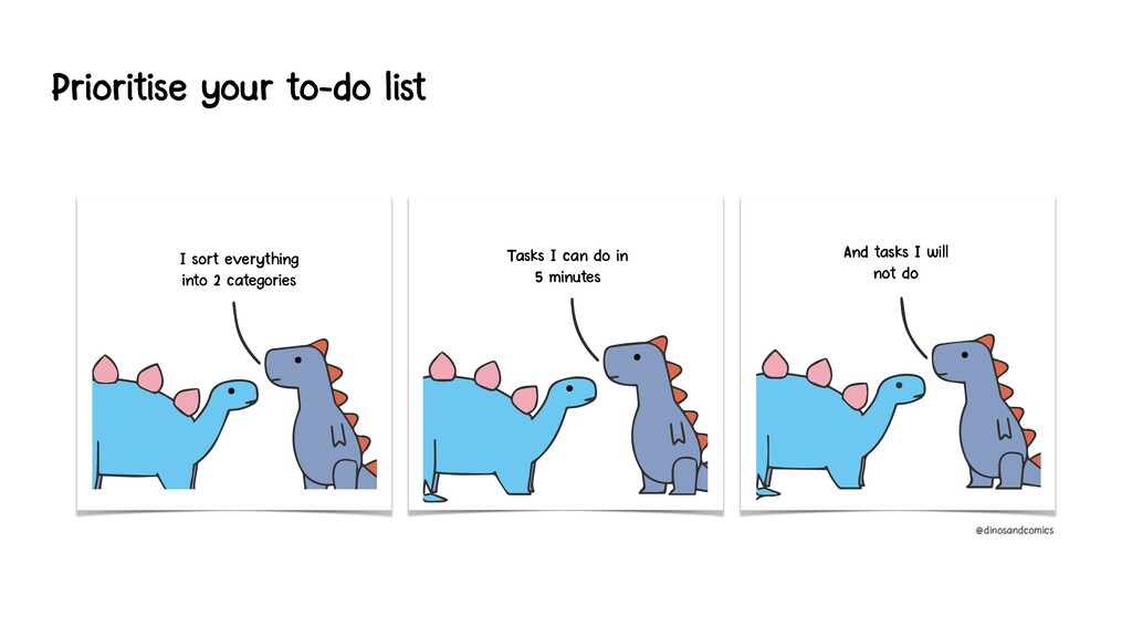 Prioritise your to-do list I sort everything in...