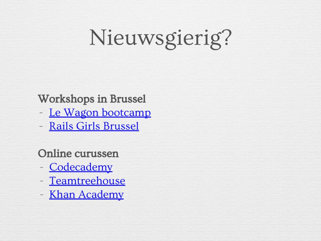 Nieuwsgierig? Workshops in Brussel - Le Wagon b...