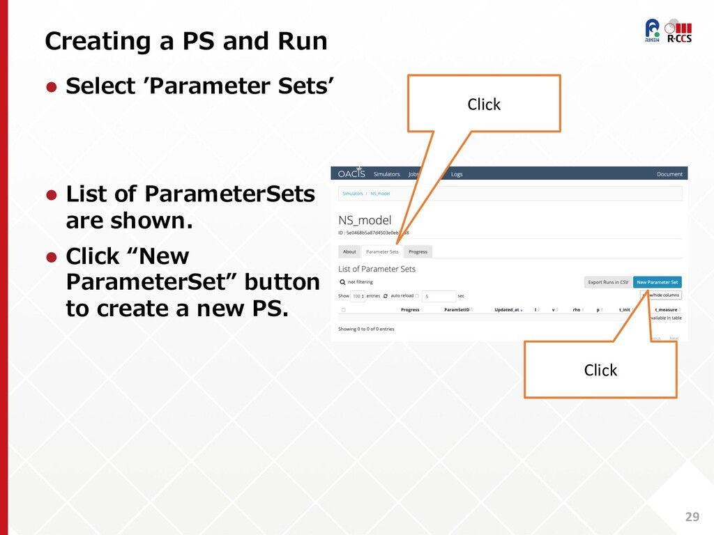 Creating a PS and Run 29 l Select 'Parameter Se...