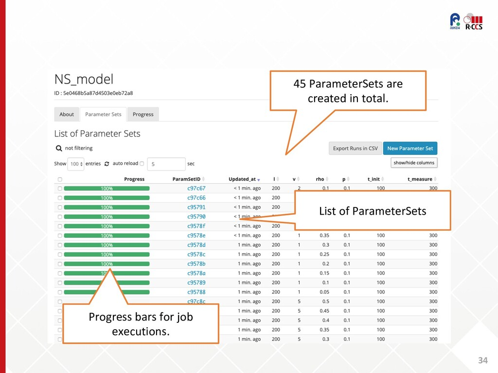 34 45 ParameterSets are created in total. List ...