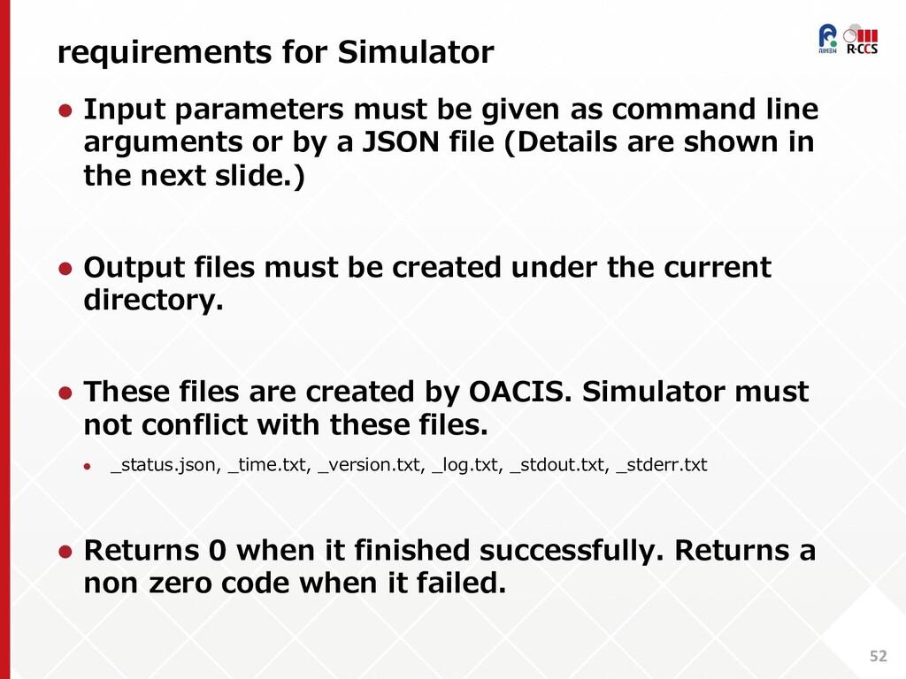 requirements for Simulator 52 l Input parameter...