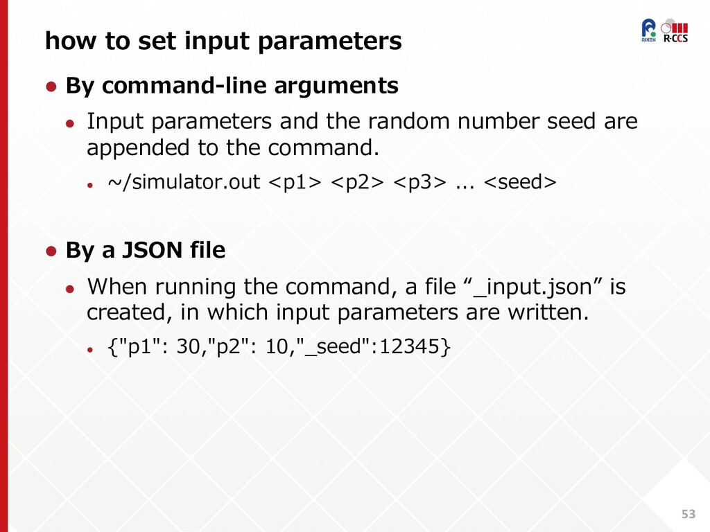 how to set input parameters 53 l By command-lin...