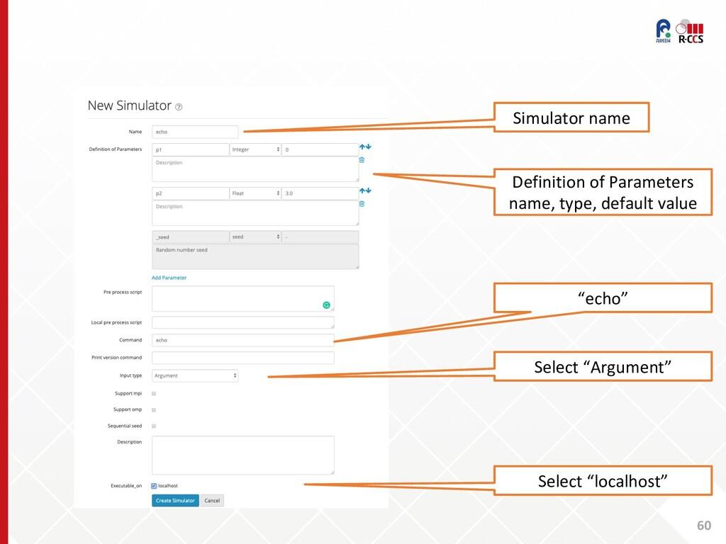 60 Simulator name Definition of Parameters name...