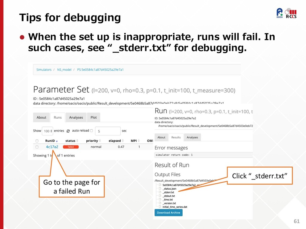 Tips for debugging 61 l When the set up is inap...