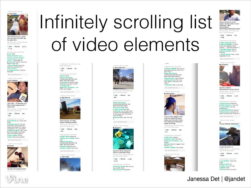 Infinitely scrolling list of video elements Jane...