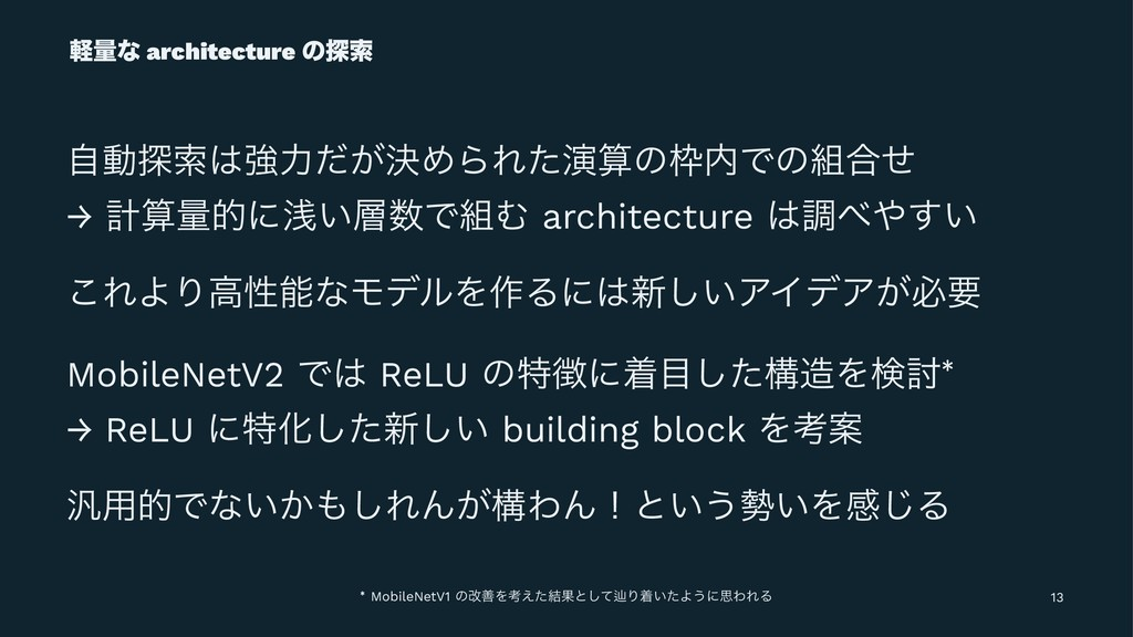 ܰྔͳ architecture ͷ୳ࡧ ࣗಈ୳ࡧڧྗ͕ܾͩΊΒΕͨԋͷͰͷ߹ͤ →...