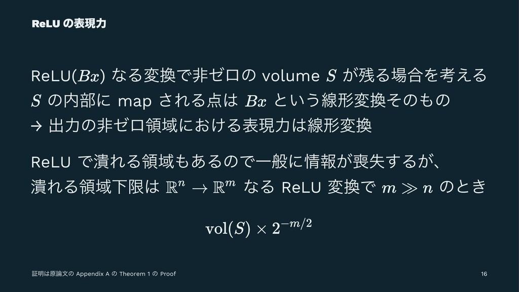 ReLU ͷදݱྗ ReLU( ) ͳΔมͰඇθϩͷ volume ͕Δ߹Λߟ͑Δ ͷ...