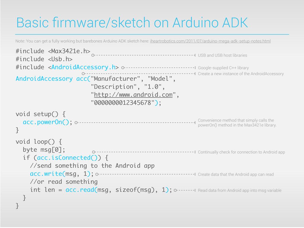 Basic firmware/sketch on Arduino ADK #include <M...