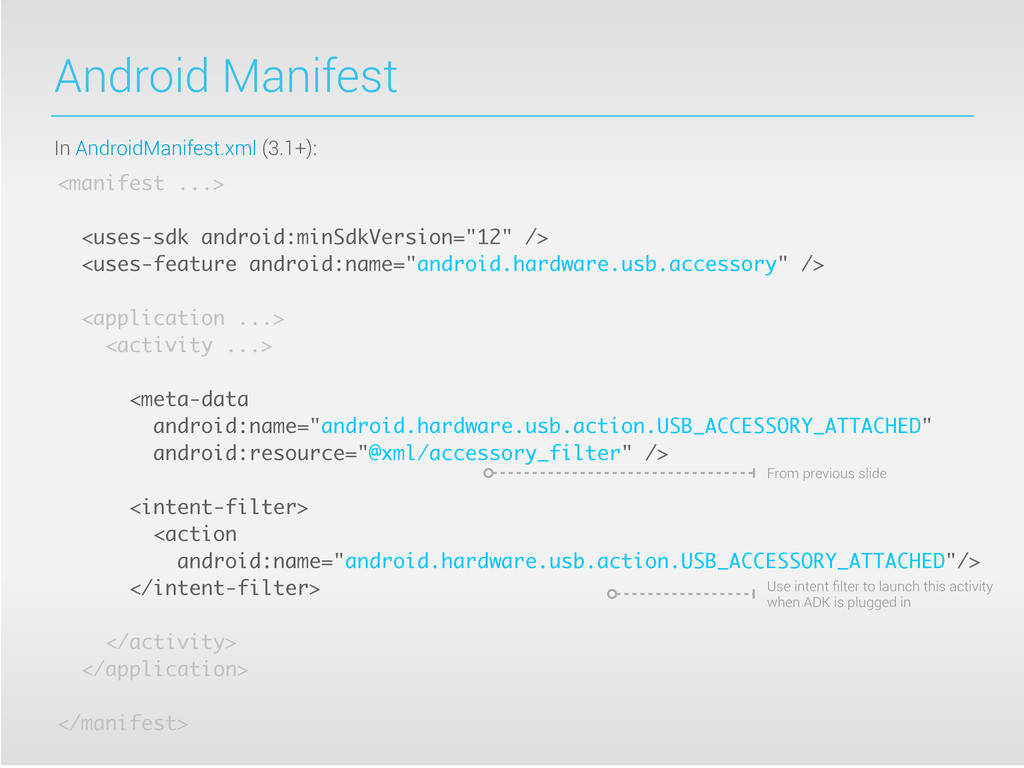 Android Manifest <manifest ...> <uses-sdk andro...
