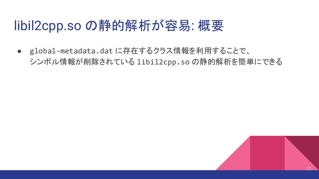 libil2cpp.so の静的解析が容易: 概要 ● global-metadata.dat...