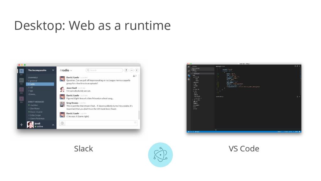 Desktop: Web as a runtime Slack VS Code