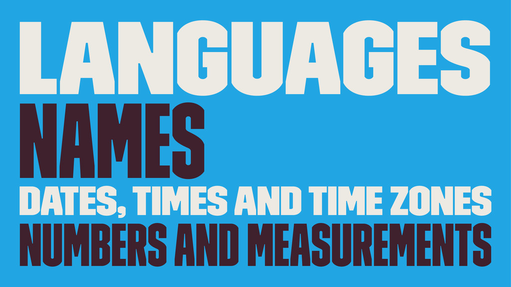 Languages Names Dates, Times and Time Zones Num...