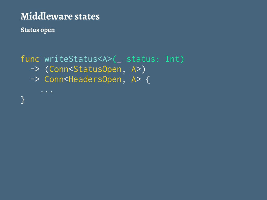 Middleware states Status open func writeStatus<...