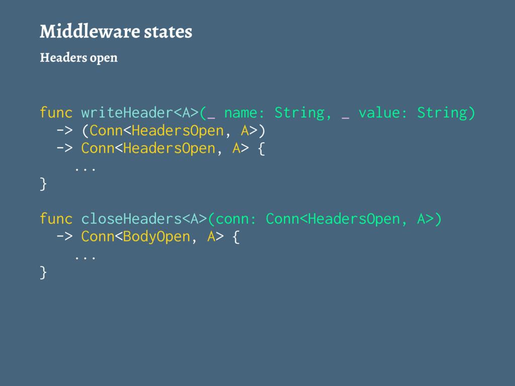 Middleware states Headers open func writeHeader...