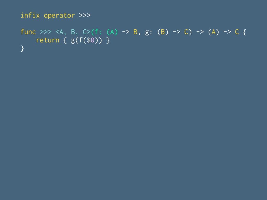 infix operator >>> func >>> <A, B, C>(f: (A) ->...