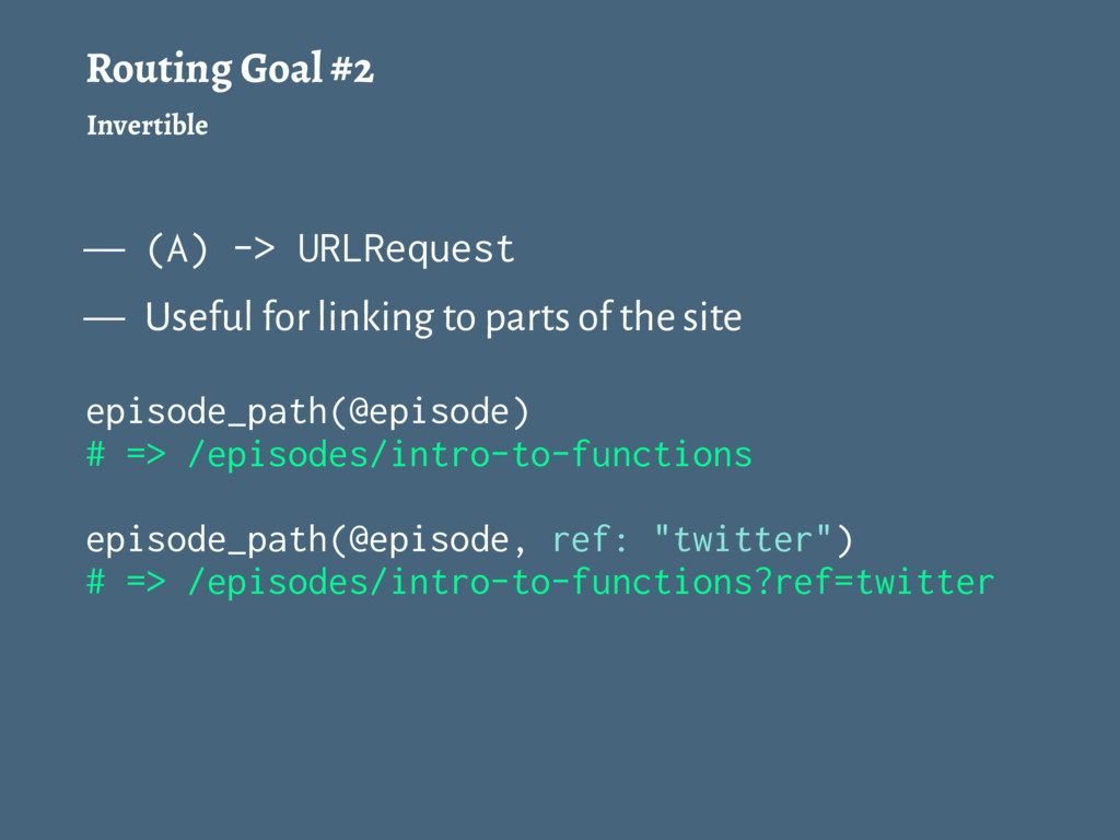 Routing Goal #2 Invertible — (A) -> URLRequest ...