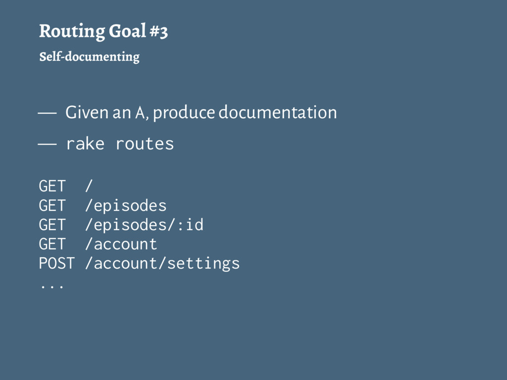 Routing Goal #3 Self-documenting — Given an A, ...