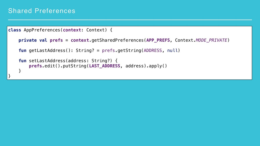 Shared Preferences class AppPreferences(context...
