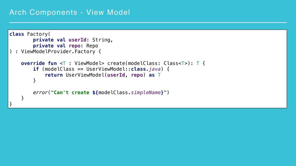 Arch Components - View Model class Factory( pri...