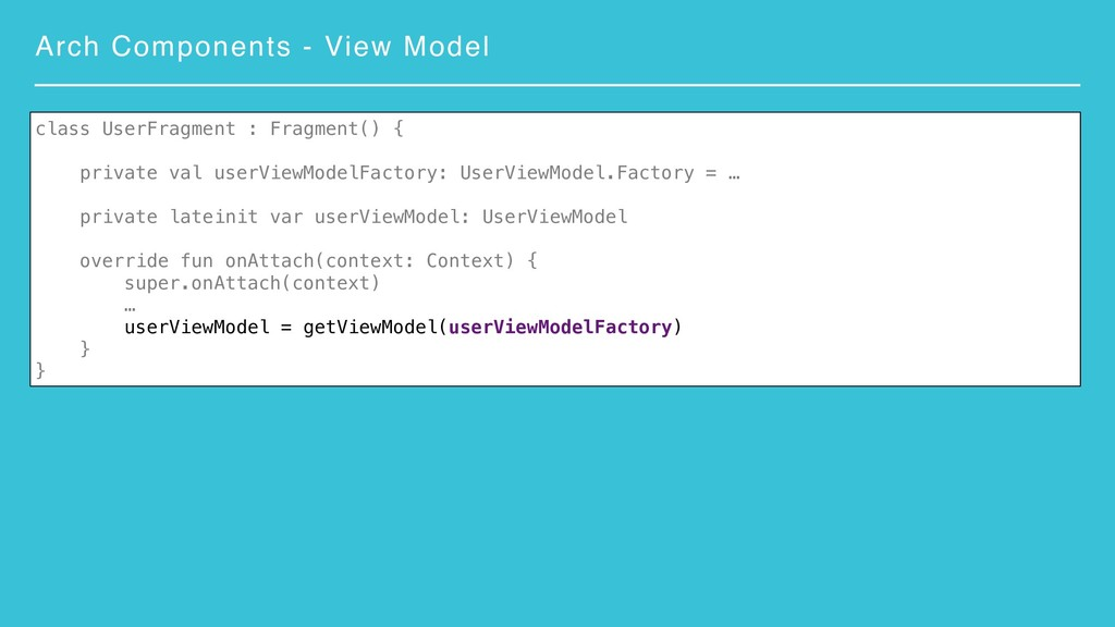 Arch Components - View Model class UserFragment...