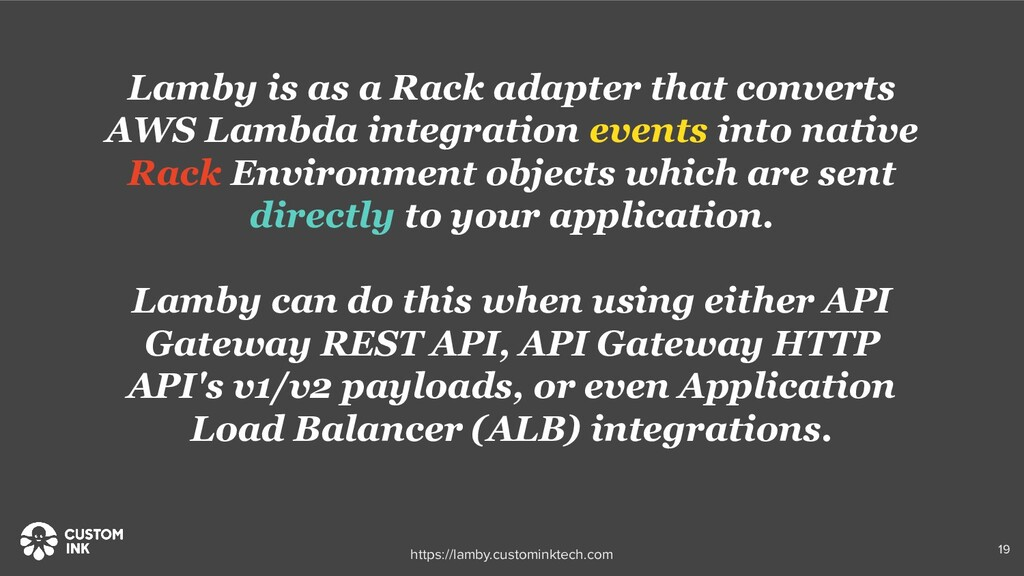 Lamby is as a Rack adapter that converts AWS La...