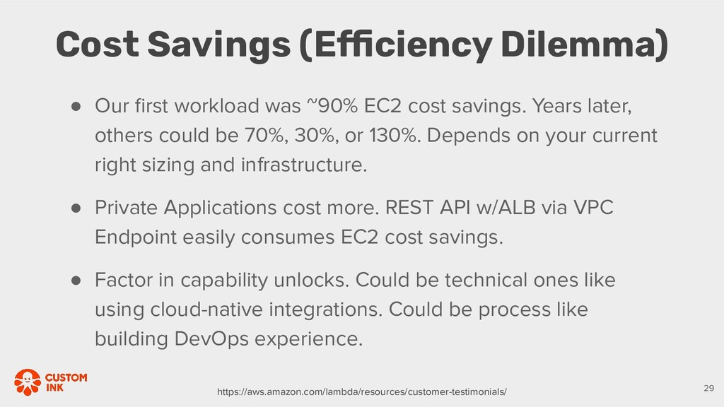 ● Our first workload was ~90% EC2 cost savings. ...