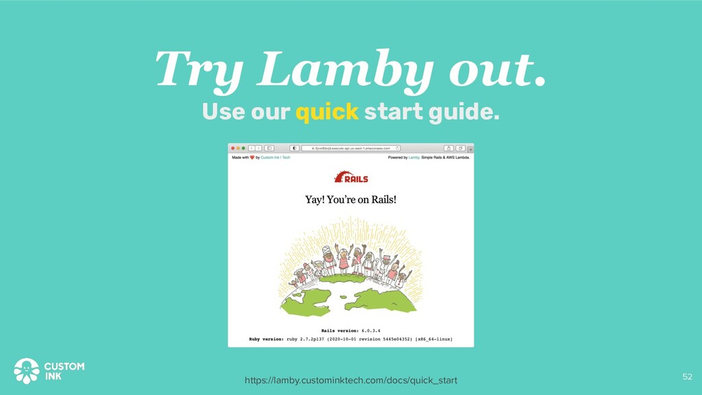 Try Lamby out. Use our quick start guide. 52 ht...