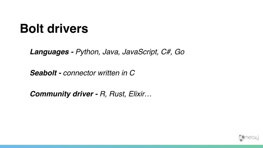 Bolt drivers Languages - Python, Java, JavaScri...