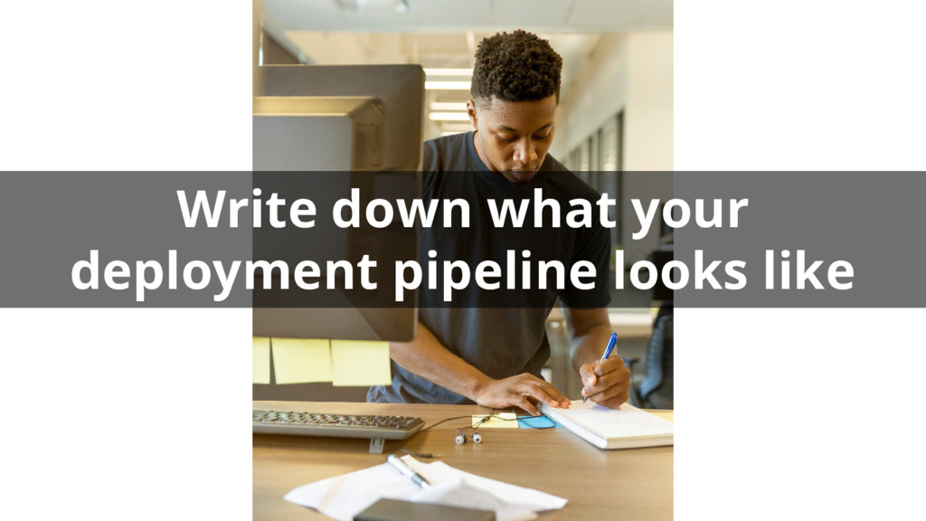 Write down what your deployment pipeline looks ...