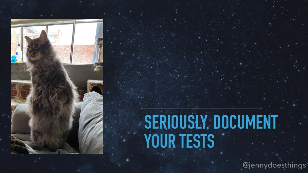 SERIOUSLY, DOCUMENT YOUR TESTS @jennydoesthings