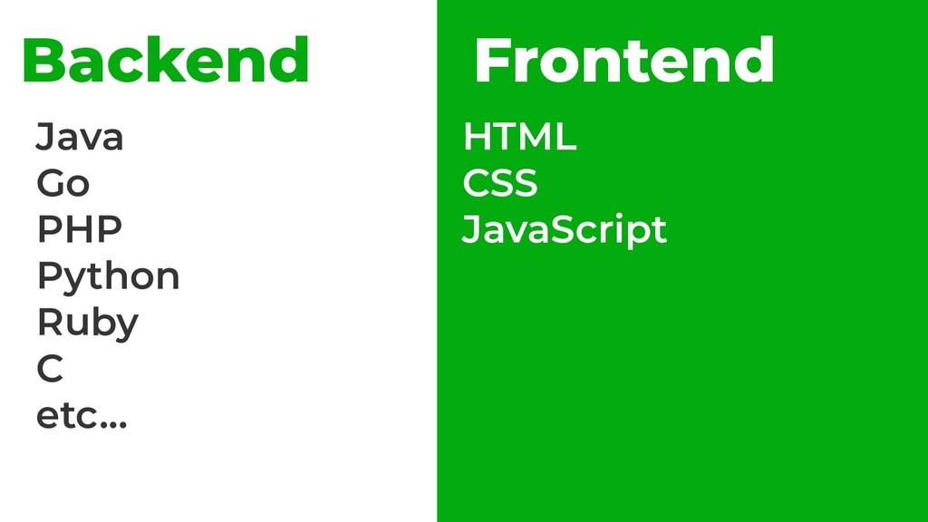 Backend Frontend Java Go PHP Python Ruby C etc....