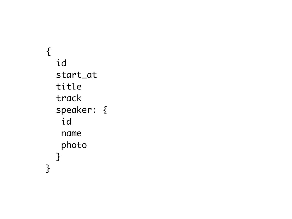 { id start_at title track speaker: { id name p...