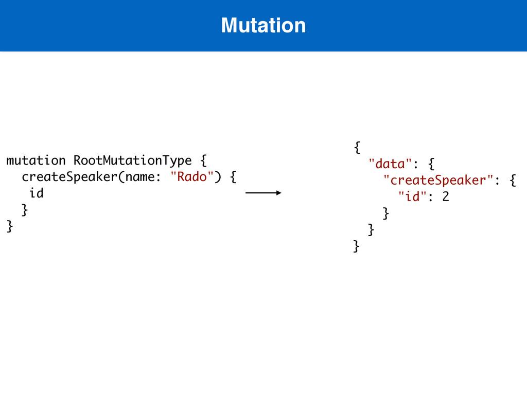 Mutation  mutation RootMutationType { createSp...