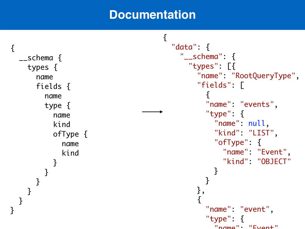 Documentation  { __schema { types { name field...