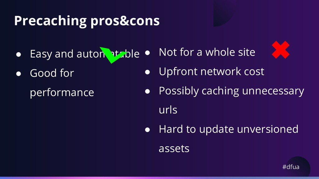 #dfua Precaching pros&cons ● Easy and automatab...