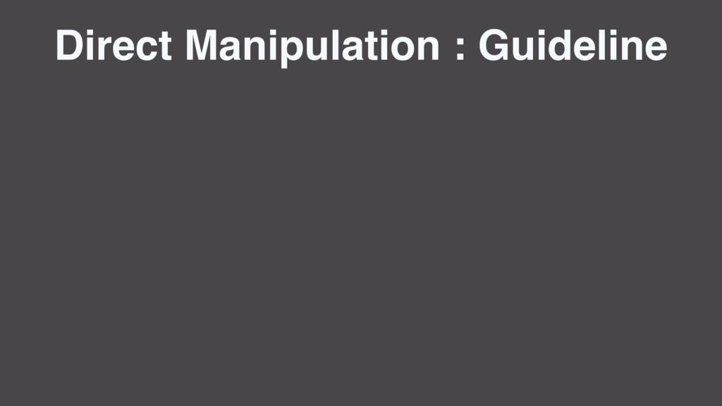 Direct Manipulation : Guideline