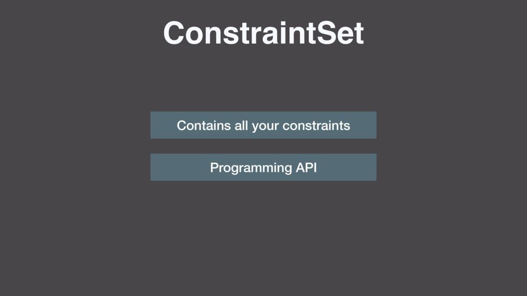 ConstraintSet Contains all your constraints Pro...
