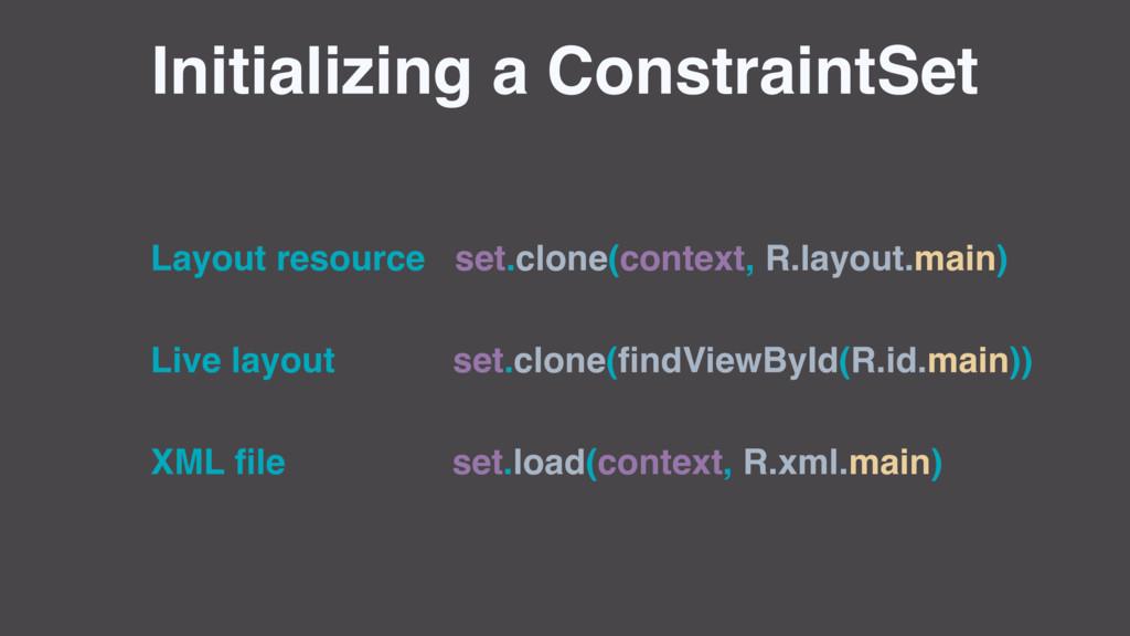 Initializing a ConstraintSet Layout resource se...